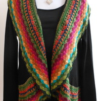 Fun & Colorful Stitch Cardigan, Black
