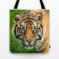 GAZE OF THE TIGER Tote Bag by catspaws