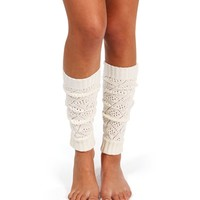 Open Knit Ivory Leg Warmers
