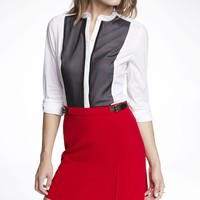 LONG SLEEVE CHIFFON TRIM ESSENTIAL SHIRT