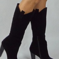 Black Faux Suede High Heel Knee High Boots