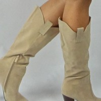 Tan Faux Suede High Heel Knee High Boots