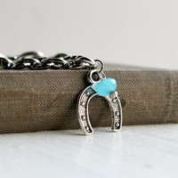 Chunky Silver Chain Horseshoe Charm Bracelet - Handmade Aqua Blue Jewelry - Western-Style Jewelry - Ready to Ship