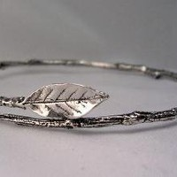 Leaf Bangle Bracelet silver Twig Rose Leaf nature by stratussilver