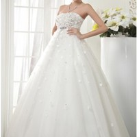 Modest Ball Gown Strapless Floral Bust Empire Wedding Dress