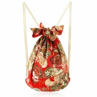 ZLYC Ethnic Style Floral Print Drawstring Canvas Backpack