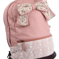 Fashion Brown Lace Backpack with Red Floral Bow