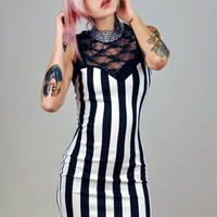 Black and White Stripe Lace Dress by veraseyecandy on Etsy