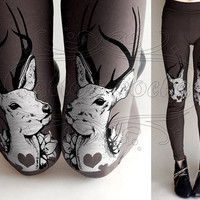 S dark grey Oh Deer cotton hand printed skinny by tattoosocks