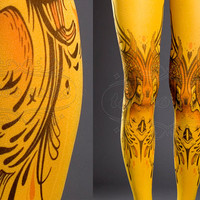 Tattoo Tights  mustard one size Birds and Ladies by tattoosocks
