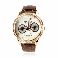 ZLYC Fashion Rhinestone Studded Bicycle Quartz Watch