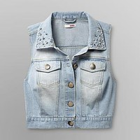 Bongo- -Junior's Denim Vest - Rhinestone Collar-Clothing-Juniors-Jackets & Blazers