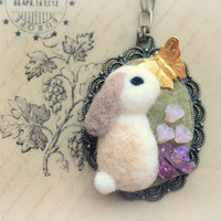 Handmade rabbit pendant necklace, needle felted bunny with butterfly necklace, handmade felt rabbit cameo, whimsical jewelry, gift under 25