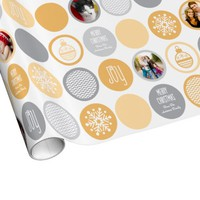 Custom Photo Christmas Dots Gift Wrap Gold