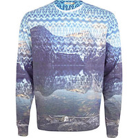 Blue lake scene sublimation print sweatshirt