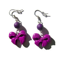 Dark Purple Clay Bow Earrings  from Mizziexoxo Boutique