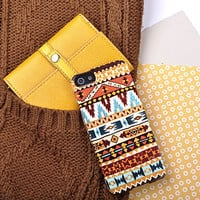Aztec Print Design In Red, Yellow And Orange