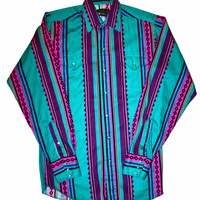 Vintage Teal Panhandle Slim Pearl Snap Long Sleeve Button Up Shirt Mens Size 15 1/2 - 36 (Medium)