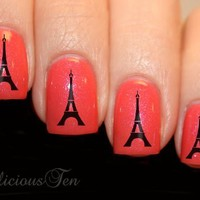 French Icon Eiffel Tower Nail Wrap Art Water Transfer Decal 21pcs