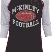 Glee McKinley High School Football Velvet Flocked Raglan Juniors T-shirt
