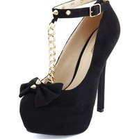 Spiked Bow T-Strap Pump by Charlotte Russe - Black