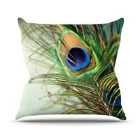 KESS Global Inc. Kess InHouse Sylvia Cook Teal Peacock Feather Throw Pillow, 16 by 16-Inch