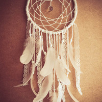 Large Dream Catcher - White Dreams - With Sparkling Crystal Prism, White Swan Feathers, Textiles and Laces - Boho Home Decor, Nursery Mobile