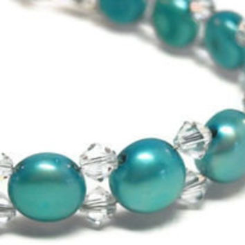 Blue Mabe Freshwater Pearl Bracelet, Austrian Crystals, Sterling Silver - epicetera