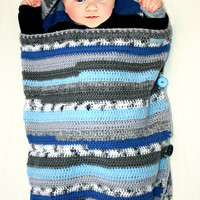 SLEEP SACK / sleeping bag for baby crocheted blue striped