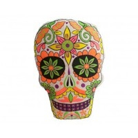 Orange Sugar Skull Pillow