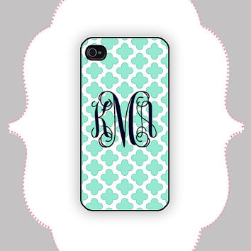 iPhone Case Quatrefoil Monogram iPhone 4/4s Case by CalisCases