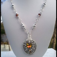"53.5cm (21"") Topaz Swarovski Crystal Heart Silver Beaded Necklace Set"