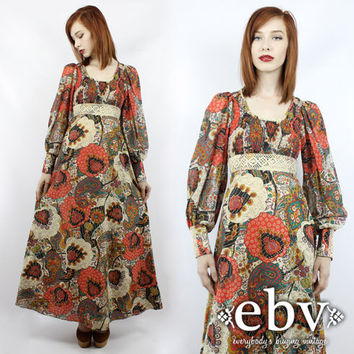 vintage hippie dress vintage floral dress from everybody 39 s. Black Bedroom Furniture Sets. Home Design Ideas