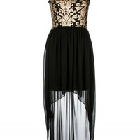 Black/Gold Baroque Print Chiffon Mixi Dress | Dresses | Desire