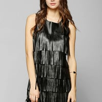 Glamorous Vegan Leather Fringe Shift Dress - Urban Outfitters
