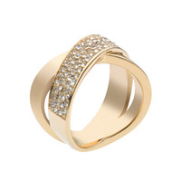 Michael Kors Pave Crystal X Ring, Golden