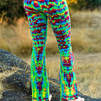 Tie Dye Psychedelic Green Hippie Yoga Dance Pant - Workout Gypsy Tights