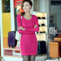 Women's Tight-fitting Solid Color Long Sleeve Dress