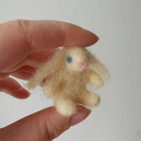 Tiny White Felt Bunny Miniature Waldorf Rabbit Toy Dollhouse Animal Figurine by FoxWoolDesigns