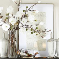 Faux Flocked Magnolia Stem
