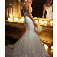 White Mermaid Boned Lace Tulle 2014 Wedding Dress IWG0263 -Shop offer 2013 wedding dresses,prom dresses,party dresses for girls on sale. #Category#