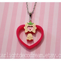 Tokyo Mew Mew Inspired Strawberry Bell Bell Acrylic Necklace for Mahou Kei, Magical Girl Fashion