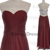 Strapless Sweetheart Long Chiffon with Crystal Burgundy Prom Dresses, Wedding Party Dresses, Long Prom Gown, Burgundy Evening Gown