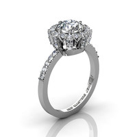 Classic Bridal 950 Platinum 1.0 Ct Cubic Zirconia Diamond Solitaire Ring R408-PLATDCZ