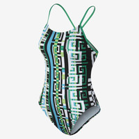 The Nike Cut-Out Labyrinth Print Women's Tank Swimsuit.