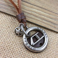 Brown Real Leather and alloy pendant adjustable necklace mens necklace  unisex necklace cool necklace B298