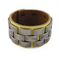 punk style yellow real leather bracelet with metal rivet, men's jewelry  bangle cuff bracelet, women's leather bracelet  S107-Y