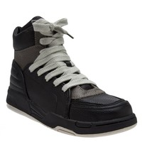 DIET BUTCHER SLIM SKIN - Leather Paneled Inner Zip  Sneaker - D133D063 GRAY - H. Lorenzo