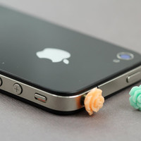 Cellphone Dust Plugs : Set of Two Flower Dust Plugs, Teal, Orange, Cell Phone, iPhone, Charm, Cute, Fun