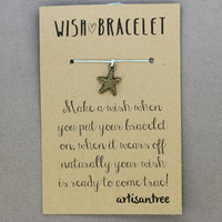 Starfish Bracelet : Wish Bracelet, Bronze, Delicate, Tiny, ArtisanTree, Friendship, Gift, Make a Wish, Good Luck, Aqua Teal Silk
